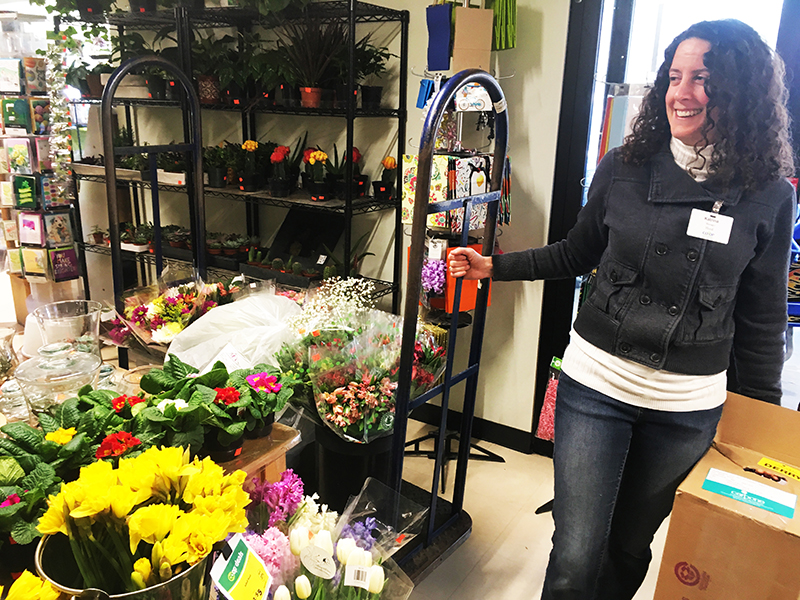 co-op employee in floral department